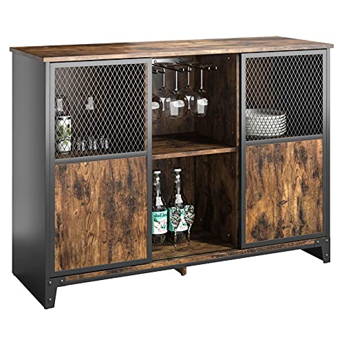 Bestier Home bar Cabinet   Sliding Mesh Door Barn Liquor Cabinet   43.7L 32.4H Home bar Furniture   Kitchen Storage Cabinet & Adjustable Sheleves Glass Wine Rack   Buffet Cabinet
