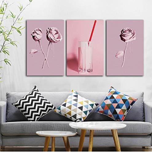 WADPJ Nordic Poster Prints Minimalist Pink Rozen drank Woonkamer Home Decor Schilderen Canvas muurkunst Foto's 50x70cmx3 stuks geen lijst