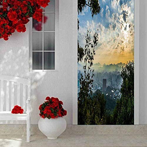 3D Door Stickers Decal Mural Art Sticker, Seascape Balcony Sea Rocking Chair, Home Decor 3D Self Adhesive Door Sticker W35.4 x L78.7 Inch