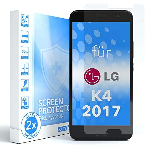 EAZY CASE 2X Panzerglas Bildschirmschutz 9H Festigkeit für LG K4 (2017), nur 0,3 mm dick I Schutzglas aus gehärteter 2,5D Panzerglasfolie, Bildschirmschutzglas, Transparent/Kristallklar