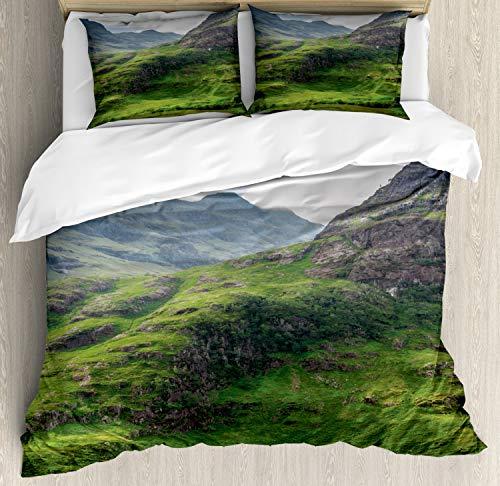 ABAKUHAUS Schotland Dekbedovertrekset, Highland Scene Outdoor, Decoratieve 3-delige Bedset met 2 Sierslopen, 200 cm x 200 cm, Veelkleurig
