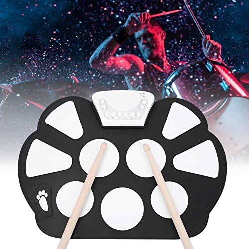 Tambor eléctrico, batería electrónica, función de grabación de simulación para niños Instrumento de silicona para regalo musical(Black drum)