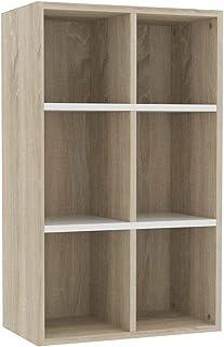 vidaXL Estantería/Aparador Aglomerado Librería DecoracióCasa Hogar Diseño Elegante Clásica Duradera Robusta Blanco/Roble S...