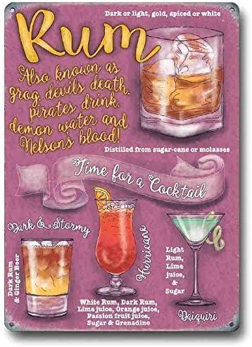 Ron Cocktail Time, Bebida Recetas Fiesta Cócteles, Padre - 9 x 6.5 cm (Magnet)
