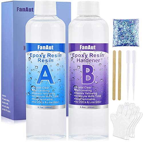 FanAut Epoxy Resin Crystal Clear for Art, Crafts, Tumblers,...