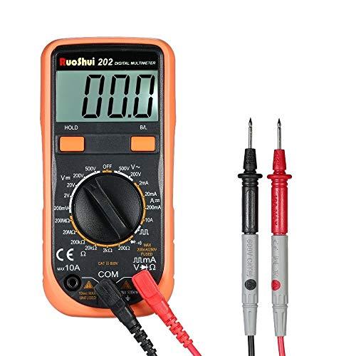 XUSHEN-HU Herramientas Multímetro - 1999 puntos multímetro digital mini Multi-funcional multi Instrumento portátil de medición del amperímetro del voltímetro de CA Voltaje de CC/CC Corriente Resiste