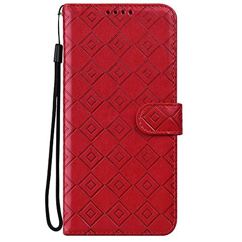 Midmelon - Funda para teléfono Samsung Galaxy J6 Plus (2018), diseño de cuadros en relieve fino, antideslizante, piel sintética, tarjeta, color rojo