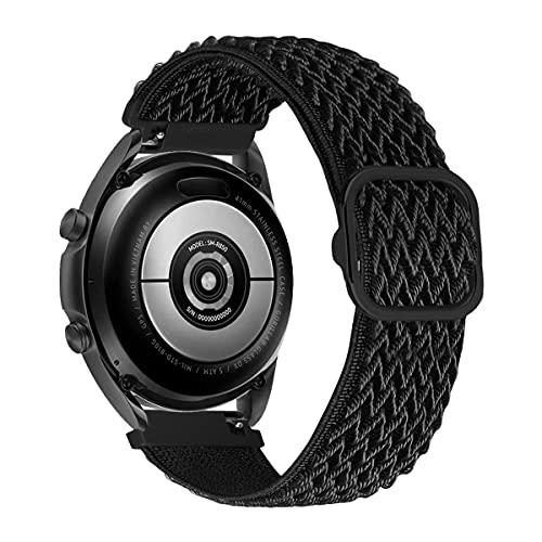 MroTech Compatible con Samsung Galaxy Active/Active2 40mm/44mm/Galaxy Watch 3 41mm/Galaxy 42mm Correa Nailon elástico 20mm Pulseras de Repuesto para Huawei GT 2 42 mm Banda Nylon Woven Band-Ola Negro