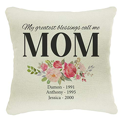 Personalized Moms Grandma Grandkids Best Mom Throw Pillow Case Mother'S Day Housewarming Gift | 18X18 Birthday Grandpa Xmas Father'S Day Covers Gifts | Christmas Last Name Home Decor Cases | C3 | D03