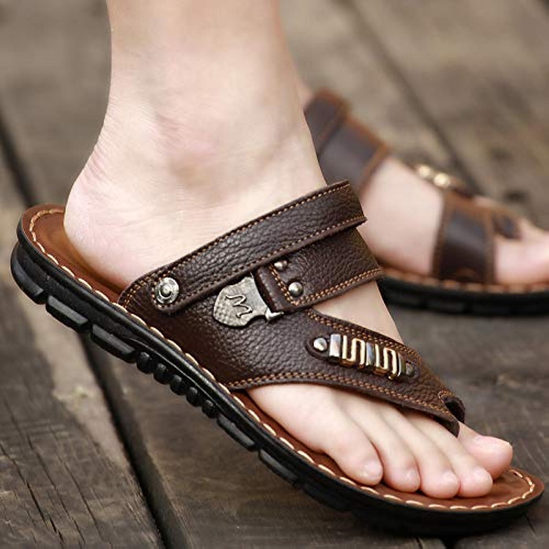 Shukun Men's flip flops Slippers Men'S Summer Flip Flops Men'S Pu Non-Slip Beach shoes Thick End England Men'S Sandals Pinch Men'S Sandals