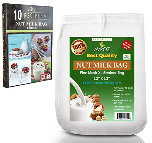 My Best Nut Milk Bag 2 Pack With Recipe eBook | Food Grade Nylon Mesh Reusable Filter Bags |...