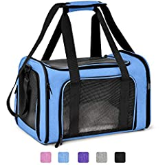 AIRLINE APPROVED CARRIER - With airline-approved design, you can take your pet to go to everywhere. This pet carrier provides two connecting loop handles for balanced carrying as a dual seat belt or luggage strap to secure transport SAFETY DESIGN - T...