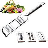 Multi-purpose Vegetable Slicer, Handheld Mandoline Food Slicer, 3-in-1 Manual Stainless Steel Flat Grater Vegetable Cutter, Perfect for Salad Zucchini Carrots Onions and All Vegetable