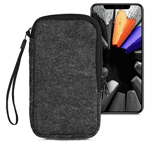 """kwmobile Handytasche für Smartphones L - 6,5\"""" - Filz Handy Tasche Hülle Cover Case Schutzhülle Dunkelgrau - 16,5 x 8,9 cm Innenmaße"""