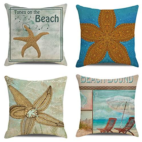 JOVEGSRVA Juego de 4 fundas de cojín decorativas de lino y estrellas de mar retro para el hogar, oficina, sofá, coche, jardín, 45 x 45 cm
