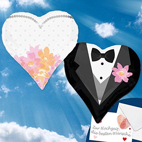 Folienballon Herzen Braut & BRÄUTIGAM XXL 63x76cm, Herzballons zur Hochzeit mgl + Glückwunschkarte + Helium & Ballongas geeignet Premium Ballons vom Luftballonprofi & Deutschen Heliumballon Experten