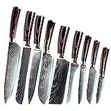 Juegos de cuchillos cocina Patrón 9pcs cuchillo de cocina Conjunto de Damasco láser de acero inoxidable Cuchillos japoneses fruta Santoku rebanar cocinero cuchillo de carnicero