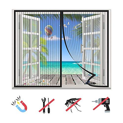 Moustiquaire Fenêtre Magnétique, Maille Ultra Fine Moustiquaire, Fermeture Automatique, sans Perçage, pour Fenêtres Porte-Black-A   45x59inch(115x150cm)