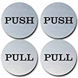 2' Round Push Pull Door Signs (Brushed Silver) - 2 Sets (4pcs)