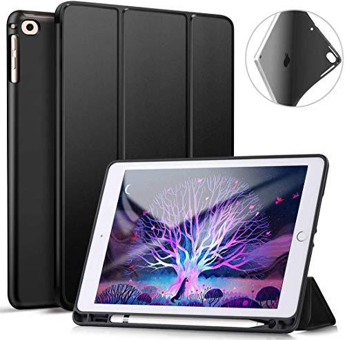 Funda para iPad de 9,7 Pulgadas 2018/2017, Ultrafina, de TPU Suave, con Soporte para lápiz Integrado, función de Encendido y Apagado automático, para iPad Air 2/Air 1 Color Negro