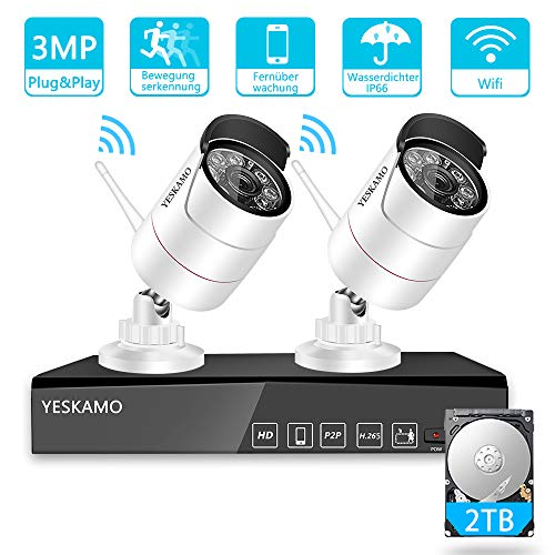 YESKMAO Funk Überwachungskamera Set Aussen WLAN mit 4 Kanal H.265 NVR Recorder und 2X3MP WiFi Überwachungskameras, Kabellos Videoüberwachung mit 2TB Festplatte, 30M Nachtsicht und Bewegungserkennung
