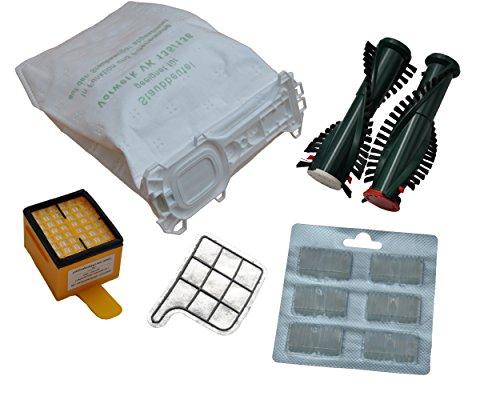12 Staubsaugerbeutel VLIES+ Hygiene- u. Motorschutzfilter + Duftis + Bürsten passend für Vorwerk Kobold 135/136 /135SC/VK135/VK136 mit EB350 o. 351