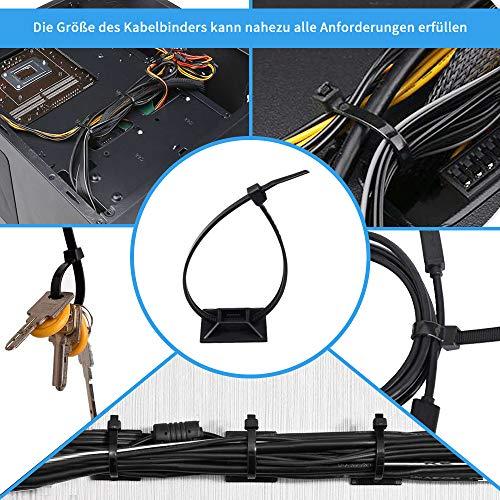 Klebesockel für Kabelbinder Montagesockel kabelbinderhalter Set Schraubsockel Selbstklebend Kabelschelle Klebepads Kabelhalter(50pack)