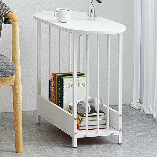 Table 2 Layer White Narrow Table, Oval Wooden Coffee Table with Storage Space, Living Room, Bedroom, White Sofa Table Balcony Bedside Cabinet,White