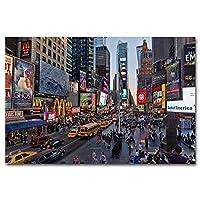 ニューヨークシティスケープタイムズスクエアウォールピクチャーポスターとプリントキャンバスアート絵画リビングルームの装飾用(23.62X35.43インチ)60X90Cmフレームなし