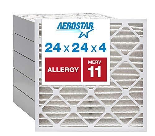 """Aerostar Allergen & Pet Dander 20x20x4 MERV 11 Pleated Air Filter, Made in the USA, (Actual Size: 19 1/2""""x19 1/2""""x3 3/4""""), 6-Pack"""
