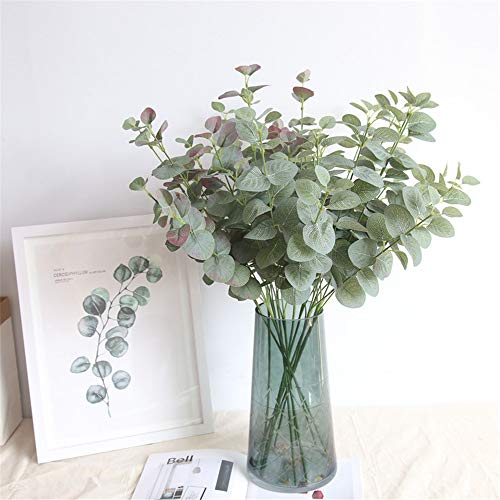 EXQUILEG 6 Stück Künstlich Eukalyptus Pflanze Zweig Eukalyptusblätter für Garten, Hochzeit, Haus Dekoration, Grün, 68cm
