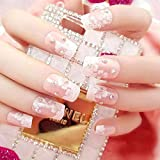 DQSM Decoración del Arte del Clavo holográfico 24 unids/Set 3D Fake Nak Art Girls Fashion Shining Rhinestone Full Claves Flowers Impresión de la Novia Nails