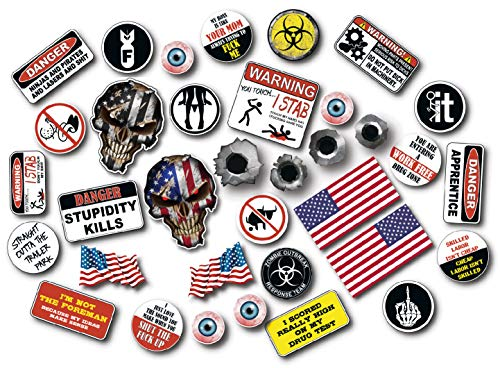 35 Crude Adult Humor Hard Hat Decals - Very Offensive - Construction Worker stickers made for Interior and Exterior use - Heavy Duty 3M vinyl film - up to 4 FREE decals with each order - Decals by Haley