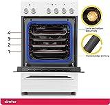 Simfer SMF-FS 4227 Standherd mit Glaskeramik-Kochfeld | 60 cm | 48 Liter | Elektroherd | 4 Hilight-Zonen | Grillfunktion | Backraumbeleuchtung | Backofentür - 5