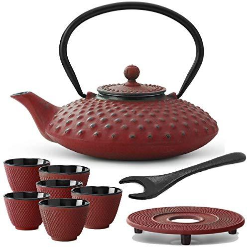 Bredemeijer rode Aziatische theepot 0,8 L gietijzeren set met theefilter zeef onderzetter theebeker (6 kopjes) & deksellifter