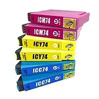 インクフルサポート IC74 3色セット×2パック 互換インク プリンター保証付 エプソン icc74 icm74 icy74 IC74/74XXL epson インクカートリッジ 一年保証付