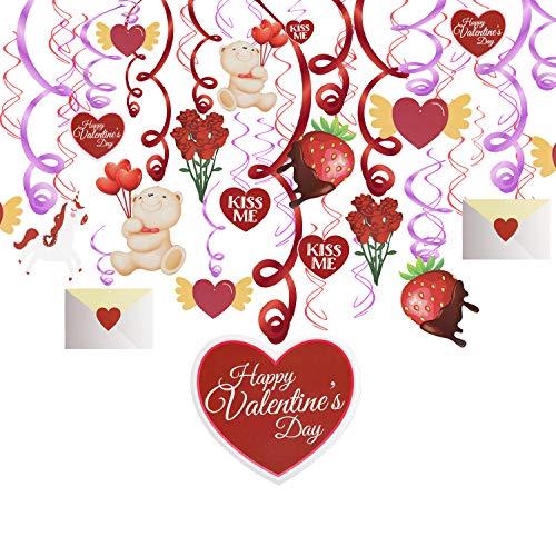 HOWAF Decoración de San Vatentín, 30 Remolinos de Oso Corazón Techo Guirnalda para San Valentín, Compromiso, Boda, Aniversario y Fiesta de Cumpleaños
