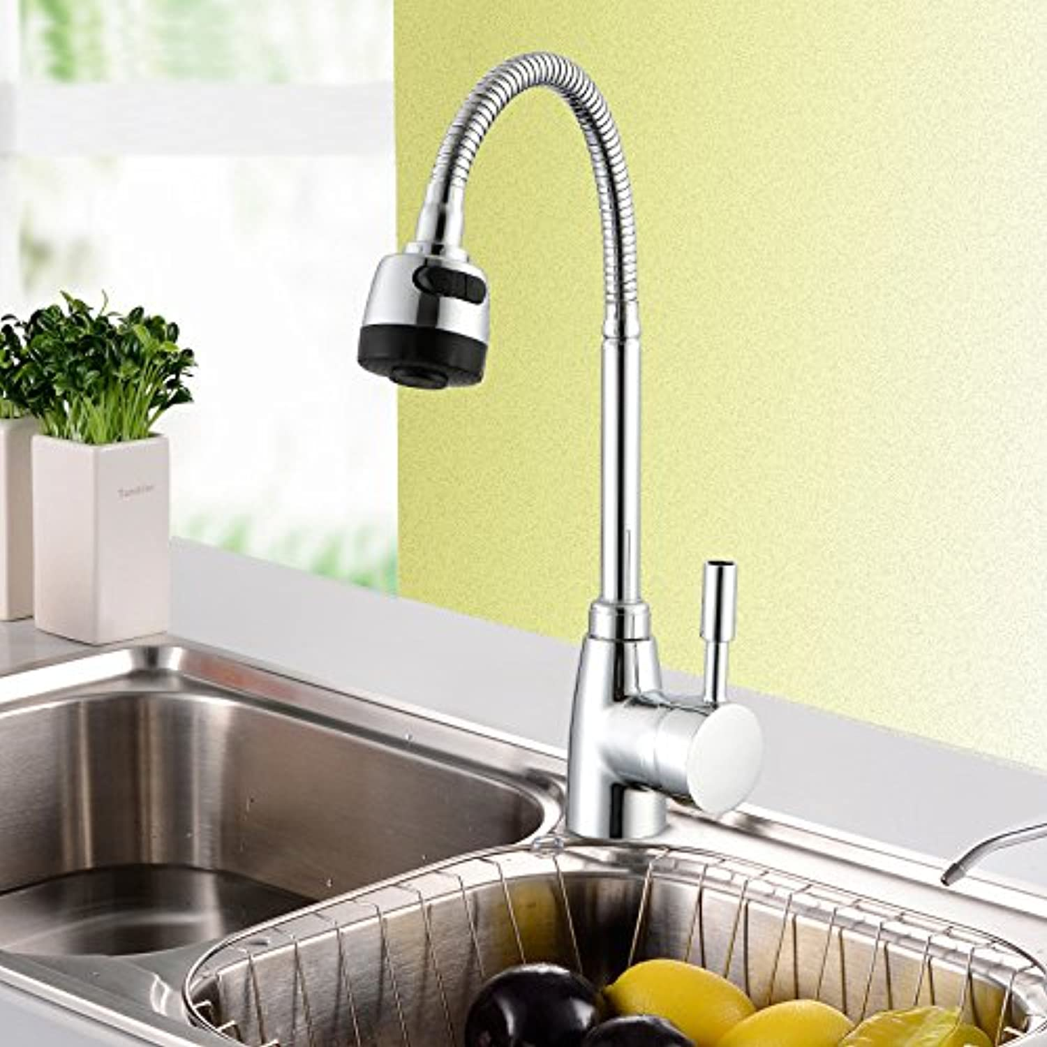 Commercial Single Lever Pull Down Kitchen Sink Faucet Brass Constructed Polished Sink Faucet Kitchen Kitchen Hot and Cold Faucet Sink Sink Faucet Sink Basin Mixer Faucet