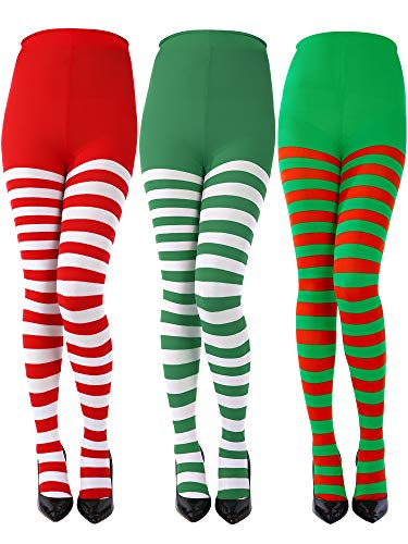 Sumind 3 Pairs Christmas Striped Tights Full Length Tights Thigh High Stocking for Christmas Halloween Costume Accessory(Red White Stripe, Green White Stripe, Green Red Stripe, Adult Size)