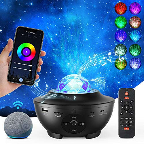Galaxy Projector Star Projector, Star Light Projector for Bedroom with Music Speaker, Skylight Night Light with Timer & 10 Color Effects, Alexa & Google Assistant Control for Adults Kids