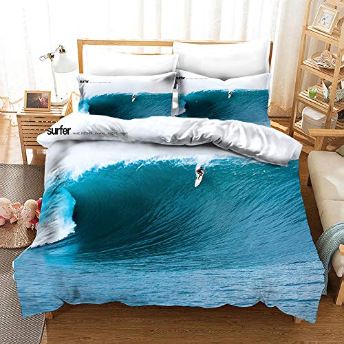 CURTAINSCSR Printed Duvet Cover Blue Surf Polyester Bedding Set Single Size with Zipper Closure Quilt Cover Set+2 Pillowcases Easy Care Anti-Allergic Soft & Smooth Apply to Boy Girl Bedroom