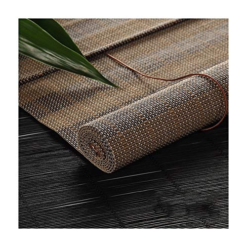 GDMING Bamboe blind lichtfiltering venster rolgordijnen met volant buiten paviljoen zonwering snoer gebonden retro decoratie gordijn zijtrekrolgordijn, 53 maten