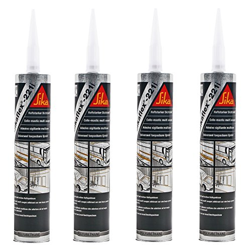 4x Sikaflex 221 weiß 300 ml dauerelastisch, überlackierbar, breites Haftspektrum für Wohnwagen und Wohnmobil