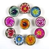 Velas con calentador y recambios para portavelas con 10 velas perfumadas en forma de flores (Hibisco, Lys, Sakura, Lotus, Rosa, Frangipanier)