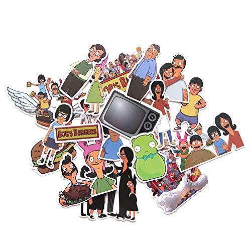 WYDML Burger Shop Animación Pegatina Pvc Impermeable Caja de Viaje Monopatín Refrigerador Cuaderno Dibujos Animados Impermeable Etiqueta 21 Unids