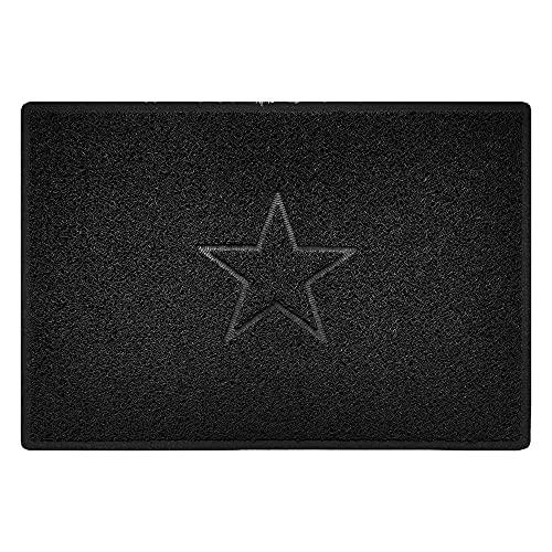 Nicoman Estrella - Felpudo Logotipo en Relieve Rizos de Vinilo Entrada Bienvenido Lavable Alfombra - (Usar en Interiores y Exteriores), Grande (90x60cm), Negro