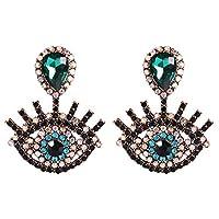 YAZILIND Big Eyes Shape Earringsファッション誇張ファニーアイラッシュドロップピアス(グリーン)
