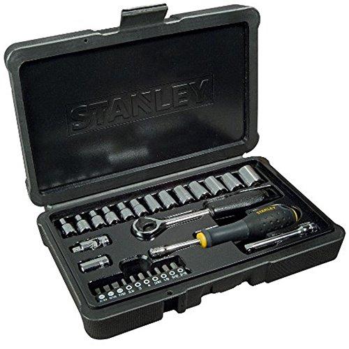 """STANLEY STHT0-73931 Juego llaves de Vaso 28 piezas 1/4"""" acabado Cromo pulido"""