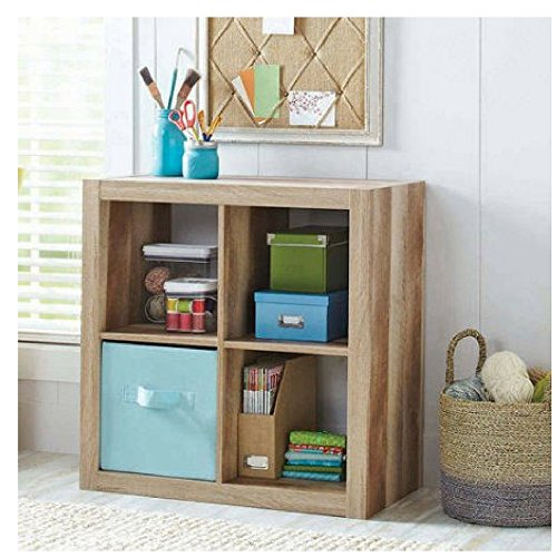 Better Homes and Gardens.. Bookshelf Square Storage Cabinet 4-Cube Organizer (Weathered, 4-Cube)
