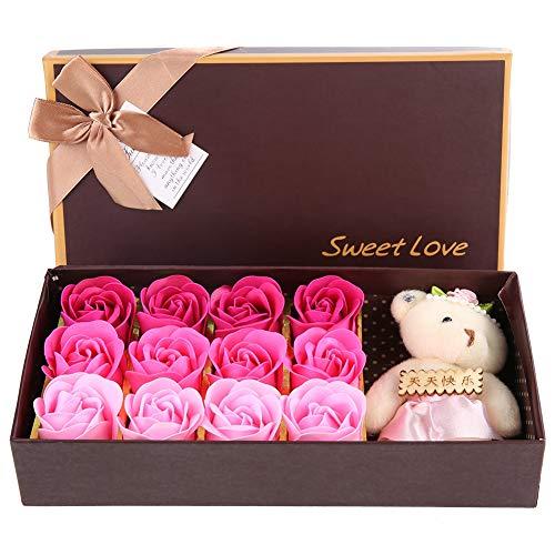 Hongzer Ramo de simulación, 12 Flor de Rosa, Flor de jabón + Oso de Peluche Día de San Valentín, Regalo romántico con Caja(Rosado)